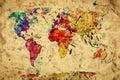 Vintage world map. Colorful paint