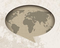 Vintage world map in speech balloon background Royalty Free Stock Images