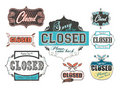 Vintage_worn_out_closed_signs Royalty Free Stock Photography
