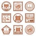 Vintage Writing Stamps Set Royalty Free Stock Photo