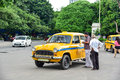 Vintage Yellow Taxi Cab on the Street Royalty Free Stock Photo