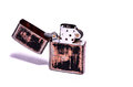 Vintage zippo style lighter on a white background Royalty Free Stock Images