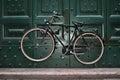 Vintaged bicycle suspended