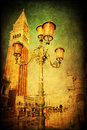 Vintaged textured picture of the st mark s square in venice vintage with vignette under water Stock Image