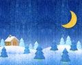 Vintern landscapes natt Royaltyfri Fotografi