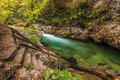Vintgar gorge and green river bled triglav slovenia beautiful landscape in the Stock Photography