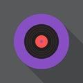 Vinyl disc flat icon. Round colorful button, gramophone record circular vector sign, logo illustration.