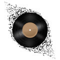 Vinyl disc with music notes flying out illustration on white background Royalty Free Stock Image