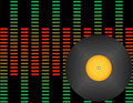 Vinyl Record on a Background of Graphic Equalizers Royalty Free Stock Image