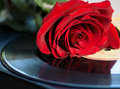 Vinyl record disk and a red rose Royalty Free Stock Photo