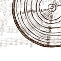 Vinyl record and music notes Royalty Free Stock Photo