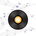 Vinyl record with orange label colorful illustration and for your design Royalty Free Stock Photo