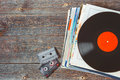Vinyl records and cassettes Royalty Free Stock Photo
