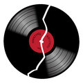 Vinyl 33rpm Broken Record With Red Label Royalty Free Stock Photo