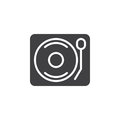 Vinyl turntable record player icon vector, filled flat sign, solid pictogram isolated on white.