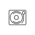 Vinyl turntable record player line icon, outline vector sign, linear style pictogram isolated on white.