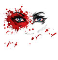 Violence against women an illustration featuring the face of a woman with the red blood splash which indicates the including rape Royalty Free Stock Photo