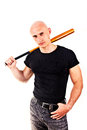Violence and aggression concept - furious screaming angry man hand holding baseball sport bat Royalty Free Stock Photo