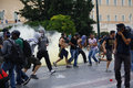Violent clashes during Merkel visit in Athens Royalty Free Stock Image