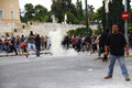 Violent clashes during Merkel visit in Athens Stock Photo