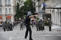 Violent clashes during Merkel visit in Athens Stock Photography