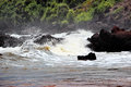 Violent forest river whitewater rapids waters of a stormy ocean crashing against dark black rocks on the shore with background Royalty Free Stock Photography