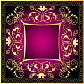 Violet background frame with gold(en) pattern Royalty Free Stock Images