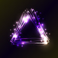 Violet and blue neon colors triangle background. Triangle Frame with Lights and flashes effects. Vector illustration, abstract bac