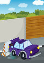 A violet car bumping the wall illustration of Stock Photography