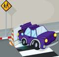 A violet car having an accident at the road illustration of Stock Photography