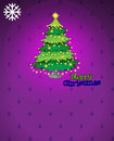 A violet christmas card with a christmas tree illustration of Stock Photo