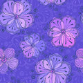 Violet doodle flowers vector seamless pattern ornate Royalty Free Stock Photography