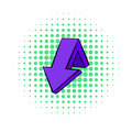 Violet down arrow icon, comics style Royalty Free Stock Photo