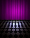 Violet drop scene illustration of curtain call and floor Royalty Free Stock Photography