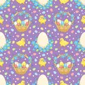 Violet easter background with chickens vector seamless pattern Stock Images