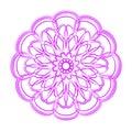 Violet flower mandala. Vintage decorative ornament.