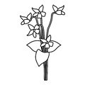 Violet flower nature spring icon thin line
