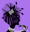 Violet girl and pearls abstract black silhouette of beads Royalty Free Stock Photography