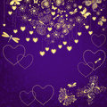 Violet grunge valentine frame with gold hearts and butterflies vector Royalty Free Stock Photography