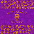 Violet Halloween background with sketches icons