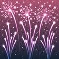Violet illuminated fireworks Fotos de archivo libres de regalías