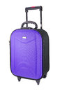 Violet luggage suitcase travel isolated on the white background Stock Photos