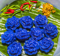 Violet panicle thai dessert food closeup of Royalty Free Stock Image
