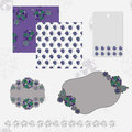 Violet pattern and gray patterns and frames Stock Photo