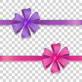 Violet and Pink Wide Ribbons with Colourful Bows Royalty Free Stock Photo