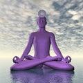 Violet purple sahasrara or crown chakra meditation - 3D render Royalty Free Stock Photo