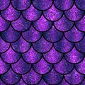 Violet and purple sparkling glitter scales seamless pattern Royalty Free Stock Photo