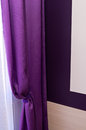 Violet window curtain curtains detail with natural daylight pouring in Royalty Free Stock Photos