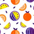 Violet yellow orange Watermelons white background. Seamless pattern melon set, wallpaper Vector. Good for t shirt print Hand drawn