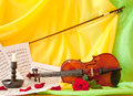 Violin books and notes red roses Stock Photography
